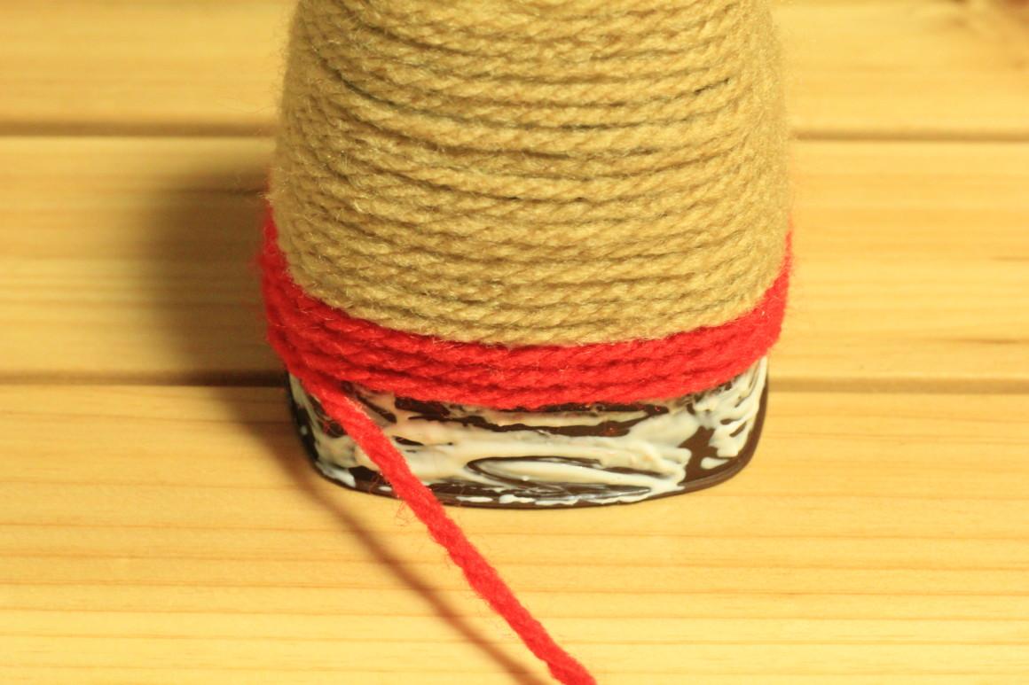 下半分を毛糸で巻く