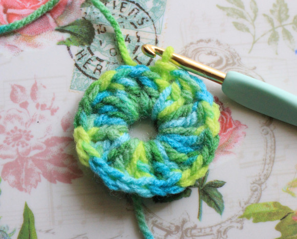長編み2目の玉編み