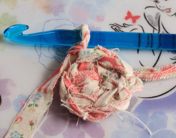 裂き布で編む細編み